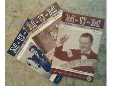 Magician's Secrets and Tricks,1952-1954 lot of 3: MUM magazine Magic/Unity/Might