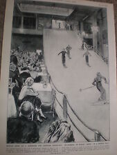 Skiing on borax in a Paris Restaurant France by J Simont 1936 print ref AZ
