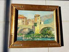 Huile Sur Toile Peinture paysage du sud par NEGER 1950 cadre doré Old Painting