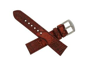 Handmade Genuine Racing Red Ostrich Leg Leather Watch Strap (Made in U.S.A)