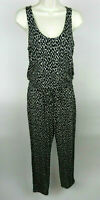 Banana Republic Jumpsuit S Sleeveless Black Beige Slinky Animal Print Scoop NEW