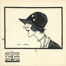 "XIM Caricaturiste ""La Tour Eiffel"" Paris Woman Sketch 6"" x 6"""