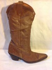 Faith Brown Mid Calf Leather Boots Size 40
