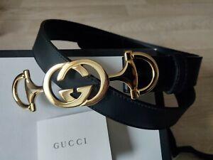 Authentic GUCCI Leather Belt With Interlocking G Horsebit Buckle