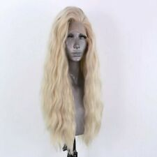 """US 24"""" Pastel Blonde GlueLess Lace Front Wig Long Wavy Handtied Synthetic Hair"""