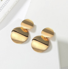 Gold Double Circle Dange Earrings New! Stunning Gold Statement Earrings Jewelry
