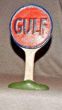 "GULF OIL DOORSTOP ADVERTISING GAS STATION COUNTER TOP SIGN CAST IRON 9 3/4"" H  r"