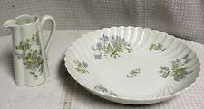 Vintage Signed Haviland Limoges Margaux Pattern Salad Serving Bowl & Creamer