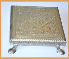 Wood White Metal Silver Design Over Stool, Chowki, Center Piece from India