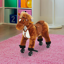 Rocking Horse Kids Ride on Toy Walking Pony Neigh Sound Children Gift w/ Wheels