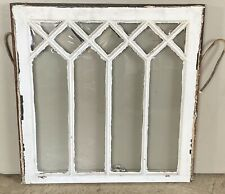 "Vintage Diamond Wood Window Sash Pane Salvage 25 1/8"" x 24 3/4"" White Shabby"