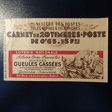 FRANCE COLONIE ALGÉRIE CARNET N°21 LOTERIE GUEULE CASSÉES NEUF ** MNH COTE 300€
