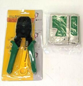 Cable Tester + Crimp Crimper + 100 RJ45 CAT5 Modular Connector Network Tool Kit