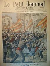 ESPAGNE GUERRE ESPAGNE AMERIQUE DEPART D'UN REGIMENT LE PETIT JOURNAL 1898