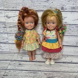 Vintage Playskool Dolly Surprise Hair Grow Doll 1987 Ginger Blonde Polly Bundle