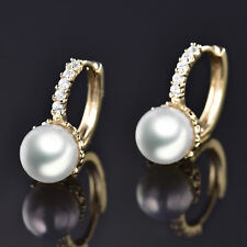 Huggie Pearl Yellow Gold Filled Crystal Rhinestone Women Lady Hoop Earrings BOX