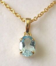8X6mm GENUINE SOLID 9ct Yellow Gold MARCH BIRTHSTONE AQUAMARINE PENDANT