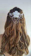 Bridal flower hair head piece comb slide freshwater pearls swarovski crystals uk
