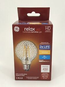 GE Relax HD LED  G25 Soft White Crackle Glass Dimmable Decorative Light Bulb