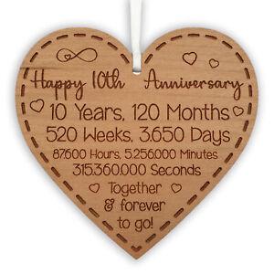 10th Anniversary Gift for Husband Wife Ideal Wedding Heart Hanging Keepsake