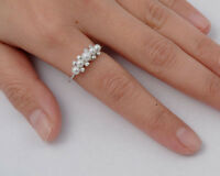 USA Seller Five Freshwater Pearl Ring Sterling Silver 925 Best Jewelry Size 5