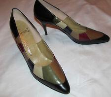 50's Caprini multicolor colorblock leather ponty toe pumps shoes 8 Aaa Nos
