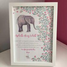 Personnalisé Godparent Baptême Cadeau Filleule Elephant Imprimer Nursery Art