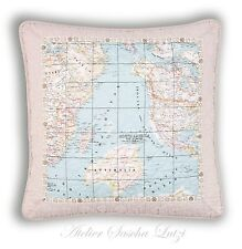 Clayre & eef Quilt Pillow Cushion Cover 50 x 50 Shabby Rustic Vintage Map