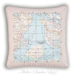 Clayre & Eef Quilt Pillow Cushion Cover 50x50 Shabby Country House Vintage Map