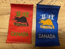 Vintage Tobacco Silk Woven Canada Beaver (Red Or Blue)~New Old Stock