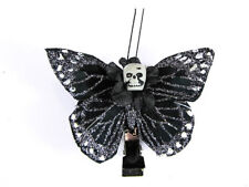 Hairy Scary Black Silver Glitter Small Kahlovera Skull Butterfly Hair Clip