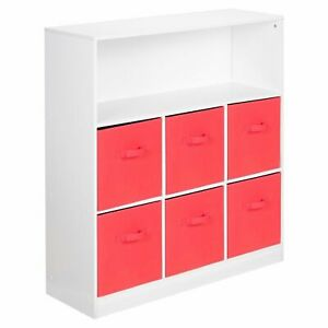 Wooden White Wide 7 Cubed Cupboard Storage Unit Shelves 6 Red Drawers Baskets