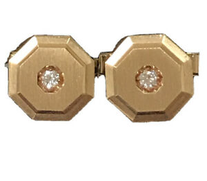 14K YELLOW GOLD VS2 H .25 CTW DIAMOND MENS CUFFLINKS  SOLID GOLD 9.7 GRAMS