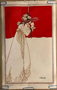 Isolde Original Vintage Poster Aubrey Beardsley Verkerke 1970's Pin Up Headshop
