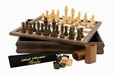 """Dal Rossi Italy 3 in 1 Chess Checkers and Backgammon 14"""" Flip Top Board Walnut"""
