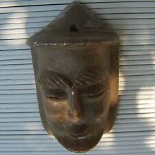 Sculpture Pierre Véritable Masque Relief Artisanat Main 13 x 8 x 6 Cm - 280 Grs