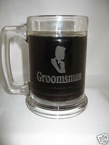 12 personalized glass beer mugs groomsmen/ brides maids