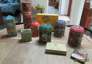 10 VINTAGE TINS/MONEY BOXES/COMMONWEALTH BANK/CIGARETTES/FOUR X/MUSICAL BOX TINS