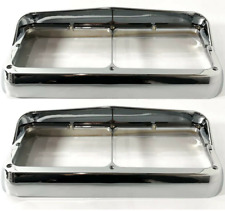 Pair Chrome Plastic Headlight Bezels w/ Visor For Dual Rectangle 4x6 Headlamp