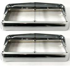 Pair Chrome Plastic Headlight Bezels w/ Visor For Dual Rectangle 4x6 Headlamp