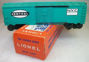 LIONEL POSTWAR 6464-900 NEW YORK CENTRAL BOX CAR: NO RED PRINTING MINT ORIG BOX
