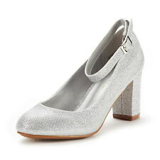 DREAM PAIRS Women's Demilee High Chunky Heel Ankle Strap Wedding Pump Shoes