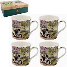 Set of 4 Collie & Sheep Design Fine China Coffee Latte Cappuccino Tea Cups Mugs
