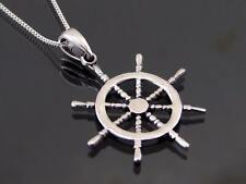 925 Sterling Silver Ships Wheel Pendant Necklace Jewellery