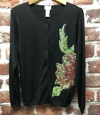 NWT Yi Lin QVC Womens M Silk Cotton Blend Embellished Black Cardigan Sweater