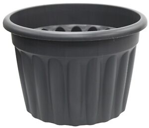 EXTRA Large 50cm Round Barrel Planter Plastic Plant Pot Rippled Black