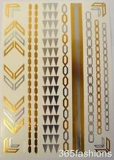 STATEMENT AZTEC STYLE CHAIN METALLIC FLASH TEMPORARY TATTOO SHEETS GOLD SILVER