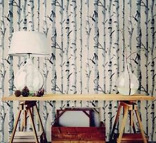 Wallpops Country Chic Birch Tree Peel and Stick Black Gray White NU Wallpaper