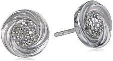 Sterling Silver White Diamond Round Swirl Post Stud Earrings