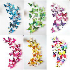 72Pc 3D Butterfly Sticker 6 Colors Magnet Art Design Wall Decals Kids Home Decor